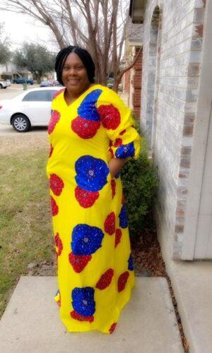 Ekanem African Print Rhinestone Embellished Maxi Dress