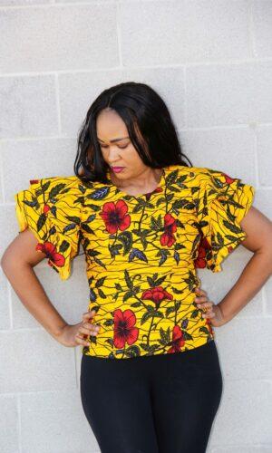 Sandra Ruffle Sleeve Fitted Blouse