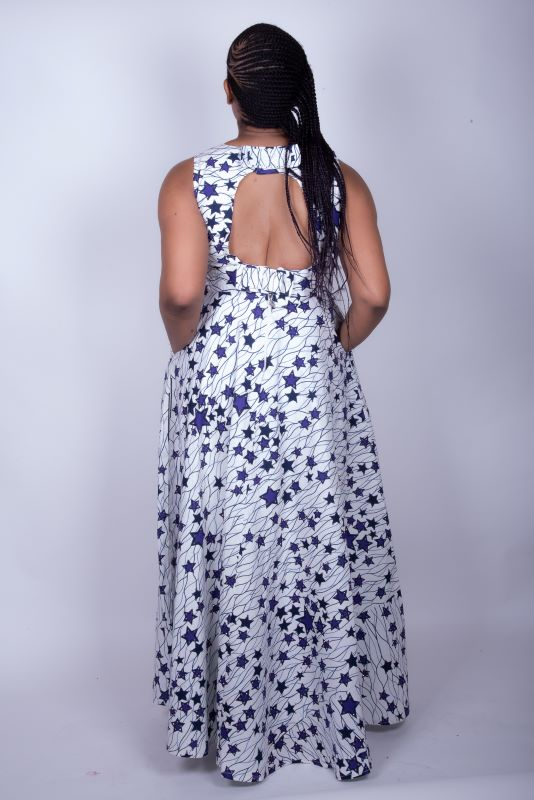 Habibah African Print Rhinestone Embellished Dress